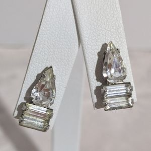Vintage Silver & Rhinestone Screw Back Earrings